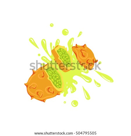 kiwano cut in the air splashing the juice