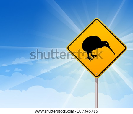 Kiwi Bird Yellow Sign on Blue - Illustration of bird from new zealand on sign with blue background