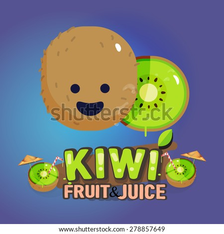 Kiwi fruit cute character with typographic design. cartoon sttyle. fruit and vegetable concept - vector illustration