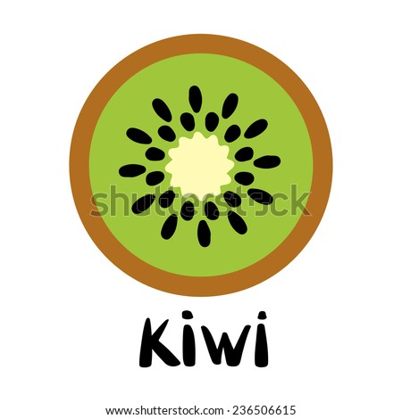 Kiwi fruit slice closeup icon isolated on white background, art logo design