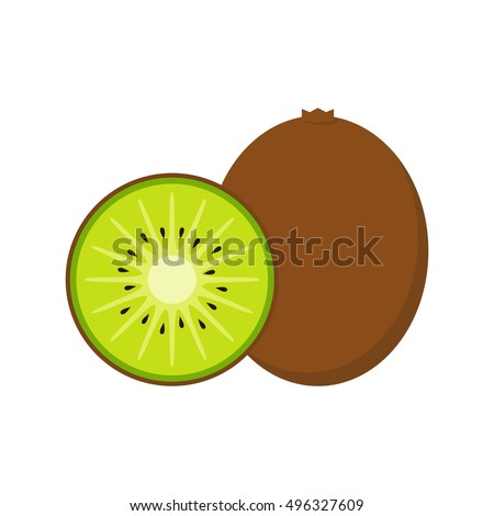 Kiwi fruit vector and slice of kiwi isolated on white background in flat style.
