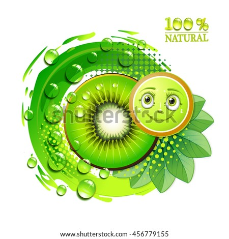 Kiwi slices with leafs and a smiley face - stock vector