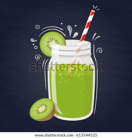 Kiwi smoothie. Vector healthy drink with kiwi fruit on blue background.
