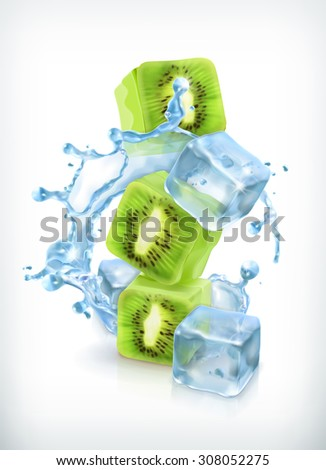 Kiwi with ice cubes and water splash, vector icon