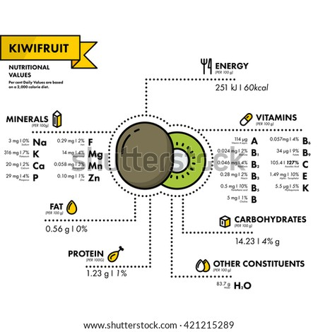 Kiwifruit - nutritional information. Healthy diet. Simple flat infographics with data on the quantities of vitamins, minerals, energy and more.