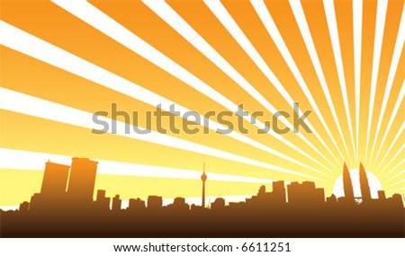KL city view - stock vector