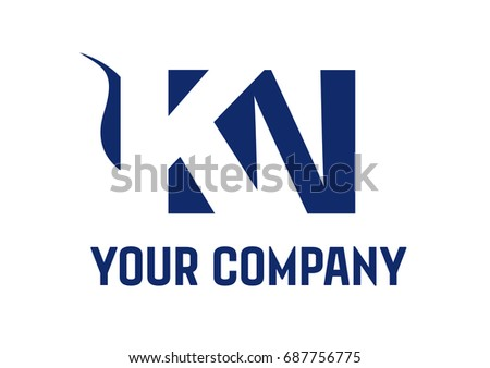 KN  Negative Space Square Swoosh Letter Logo