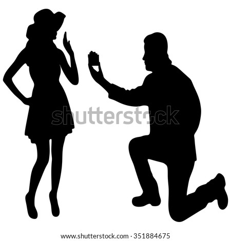 kneeled man proposing to a woman - stock vector