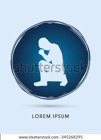 Kneeling Man Praying, designed on grunge circle background graphic vector.  - stock vector
