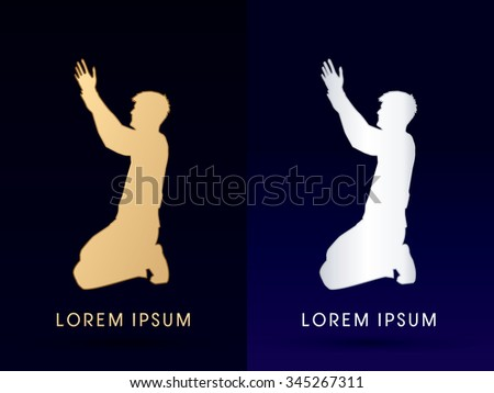 Kneeling Man Praying, designed using gold color graphic vector. - stock vector