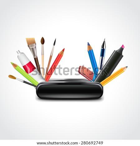 knife for designer, multi functional art tools photo realistic vector illustration - stock vector