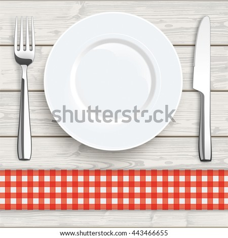 Knife, fork and plate with red checked table cloth on the wooden background. Eps 10 vector file.