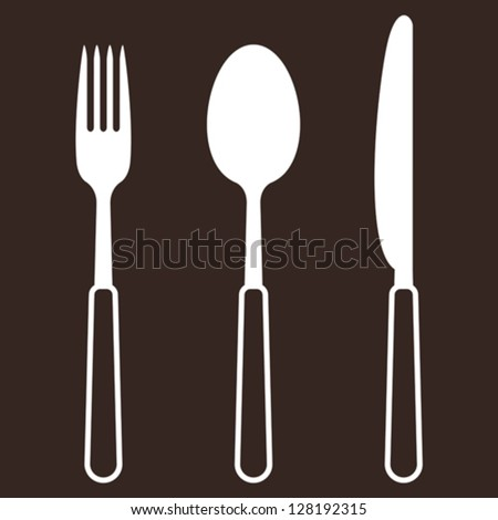 Knife, fork and spoon - stock vector
