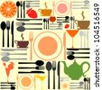 knife, fork and spoon. Cutlery icons seamless pattern background. Vector Illustration - stock photo