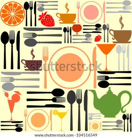 knife, fork and spoon. Cutlery icons seamless pattern background. Vector Illustration - stock vector