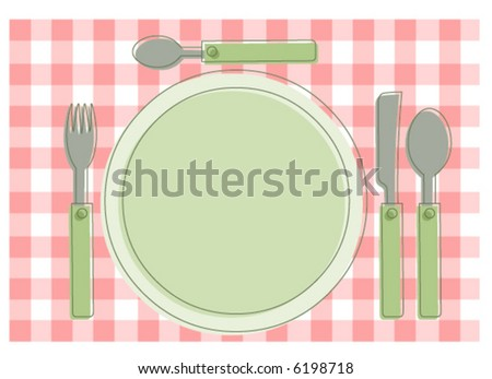 Knife, Fork and Spoon on a picnic table cloth