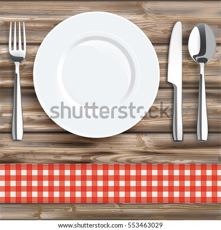 Knife, fork, spoon and plate with red checked table cloth on the wooden background. Eps 10 vector file.