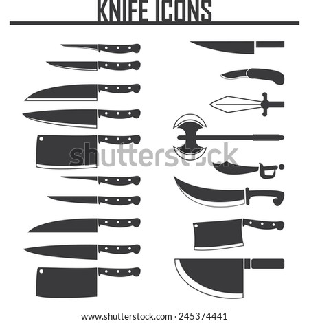 knife icons set - stock vector