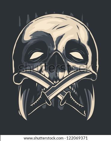 knife & skull - stock vector