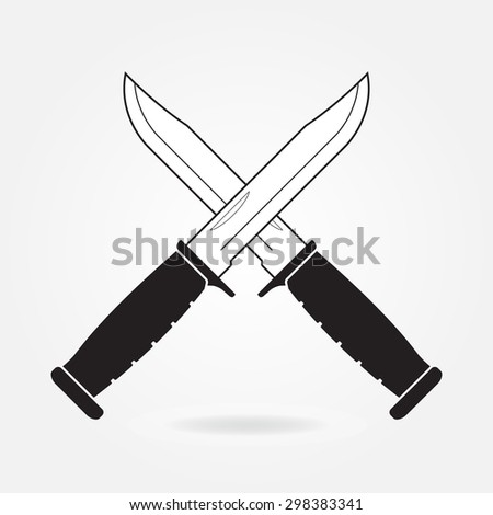 Knifes icon. Two crossed metallic military or army knives isolated on gray background. Vector illustration. - stock vector