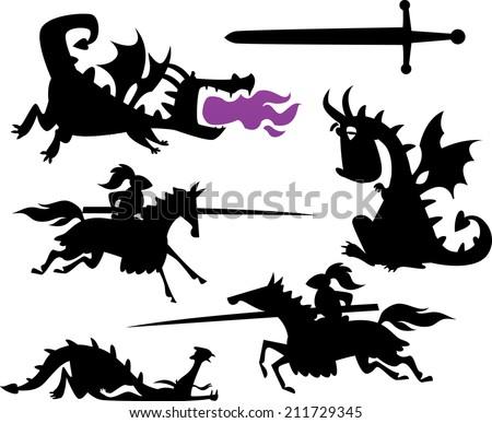 Knight and Cartoon Dragon - stock vector