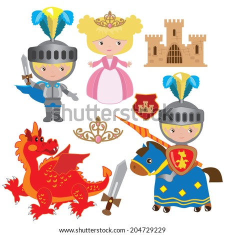 Knight and princess vector illustration