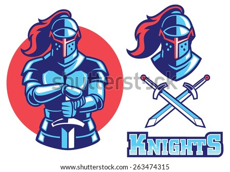 knight armor mascot - stock vector