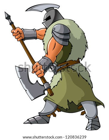 Knight attacking with an axe, vector illustration - stock vector