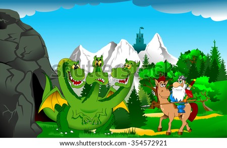 Knight attacks the fire breathing dragon, vector - stock vector