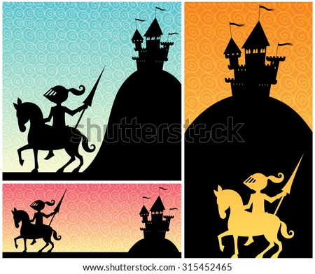 Knight Backgrounds: Set of cartoon banners with knight and castle silhouettes, and copy space for your text.  - stock vector