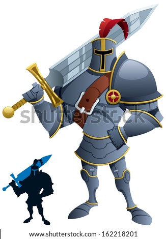 Knight: Cartoon knight. Silhouette version included. No transparency used. Basic (linear) gradients.  - stock vector