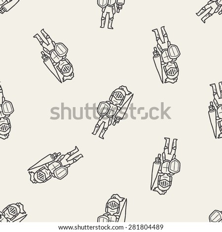 knight doodle seamless pattern background - stock vector