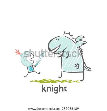 knight fighting the dragon illustration - stock vector