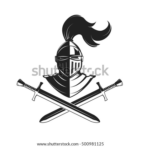 Knight helmet with two swords isolated on white background. Design elements for logo, label, emblem, sign, brand mark. Vector illustration.