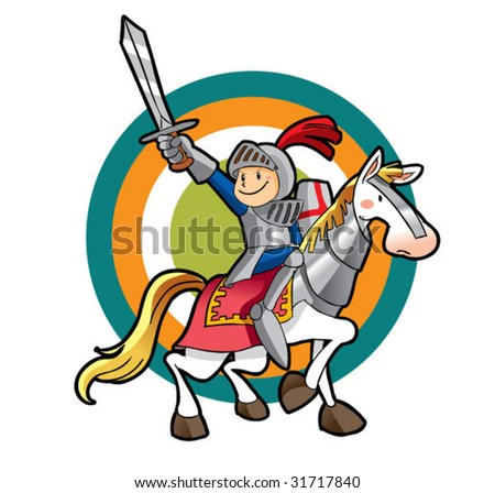 knight holding a sword - stock vector