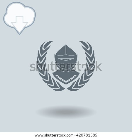 Knight icon with shadow. Cloud of download with arrow.