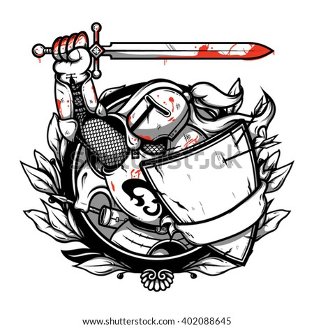 Knight illustration. Knight logo. Knight vector. Knight art. Knight picture. Knight hero. Knight warrior. Knight with sword. Knight with shield. Knight in helmet. Knight in armor. Knight artwork. - stock vector