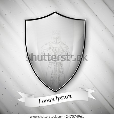Knight image. Metal shield on dirty gray background. Vector format. - stock vector