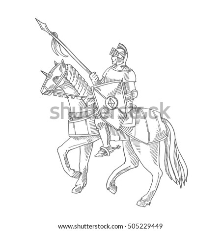 Knight in armor on a horse, medieval knight rider, gravure style rider War