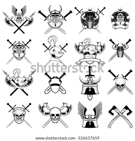 knight logo set. Skull in horned helmet, crossed axes, crossed swords, viking helmet, shield, . Logos can be easily disassembled into separate items. - stock vector