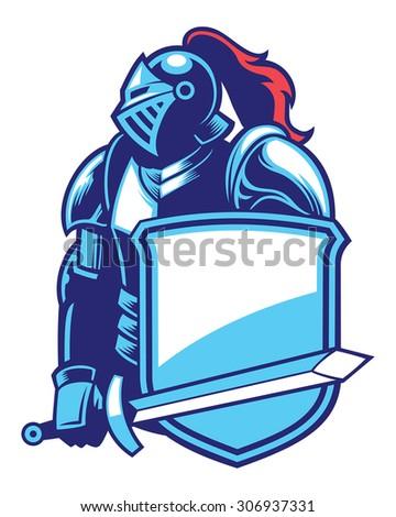 knight mascot - stock vector