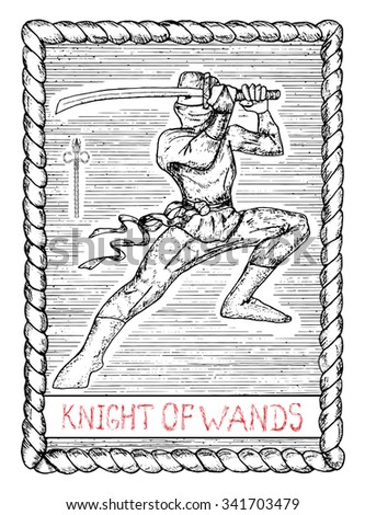 Knight of wands. The minor arcana tarot card, vintage hand drawn engraved illustration with mystic symbols. Warrior with sword or ninja with katana  - stock vector