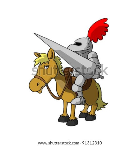 knight on horse (vector) - stock vector
