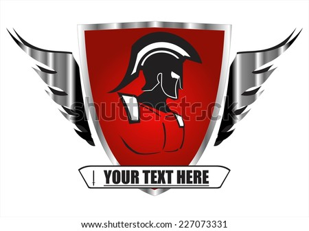 Knight on the winged red shield.   Trojan warrior on the red shield. Historical Sparta concept icon. suitable for team mascot, community icon, emblem, product identity, corporate identity, etc.  - stock vector