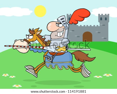 Knight Riding Horse In The background Of Medieval Castle. Vector Illustration - stock vector