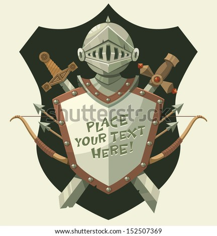 Knight's helmet and shield. Vector illustration. - stock vector
