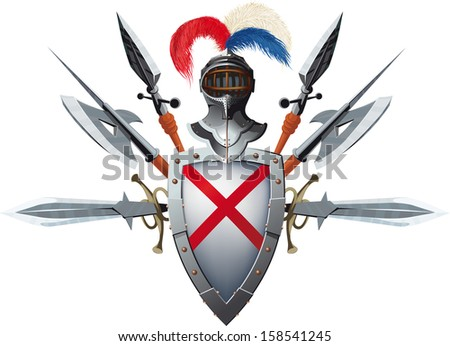 Knight's mascot with shield, helmet and bristling with weapons - stock vector