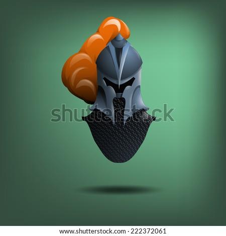 Knight's steel helmet. Vector illustration. - stock vector