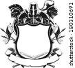 Knight & Shield Silhouette Ornament - stock vector