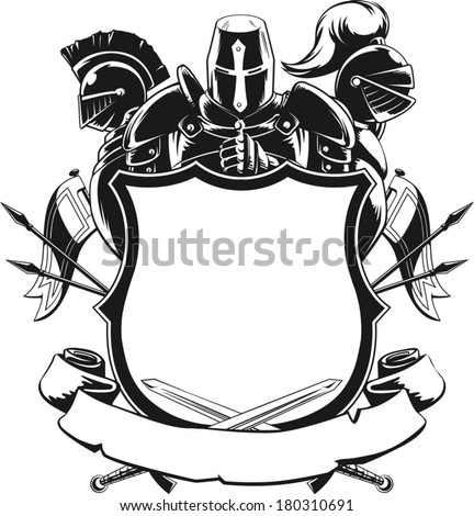 Knight & Shield Silhouette Ornament - stock vector